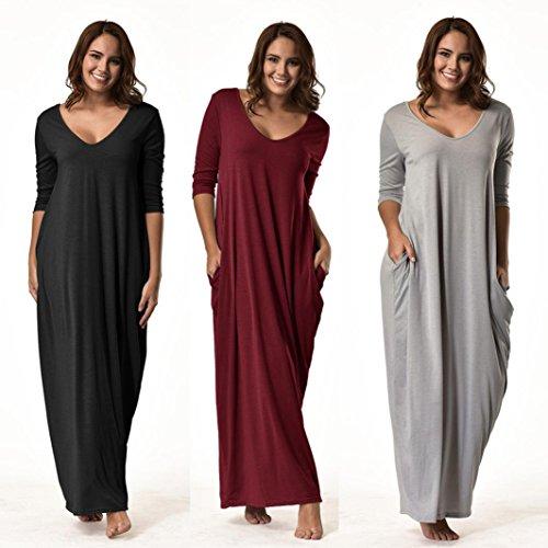 Kangma-Women-Plus-Size-Night-Dress-34-Sleeve-V-Neck-Casual-Long-Loose-Pajama-Night-Shirts-Nightgowns