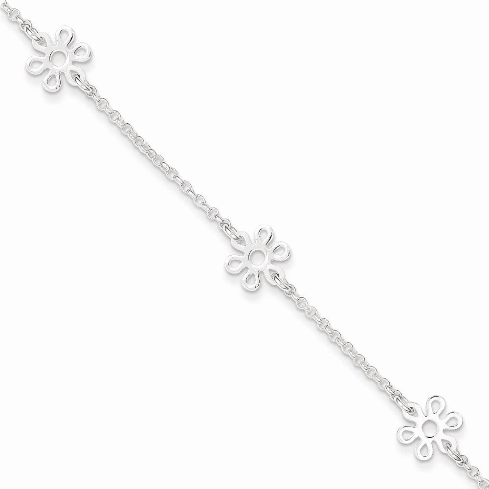 Anklet Box Sterling Silver Polished Flower W// 1in Ext