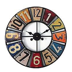 QRY American Retro Color Digital Round Wall Clock Creative License Plate Antique Metal Decoration Silent Movement Non-tick Wall Clock 60x60x4cm Happy Life