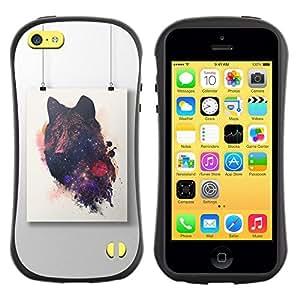 Fuerte Suave TPU GEL Caso Carcasa de Protección Funda para Apple Iphone 5C / Business Style Wolf Painting Art Drawing
