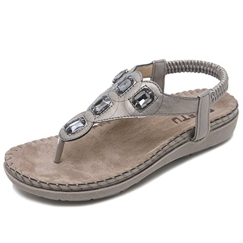 Las señoras de Verano Tanga de Manera Las de Gris SKT Sandalias imitación Cadena de Grandes Diamantes de Suetar Planas Mujeres de para la Zapatos del Playa de P7xCq