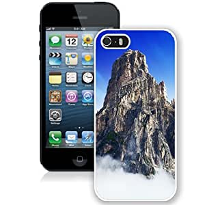 NEW Unique Custom Designed iPhone 5S Phone Case With Yosemite Park Mountain Top In Clouds_White Phone Case