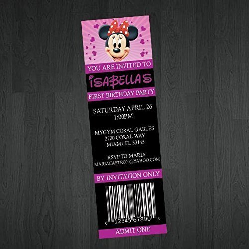 Amazon Com Minnie Mouse Ticket Invitation Minnie Mouse Birthday