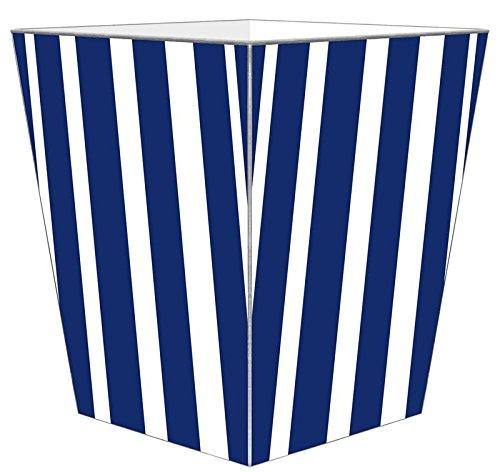 WB8416 - Navy Stripe with Orange Monogram Wastepaper Basket