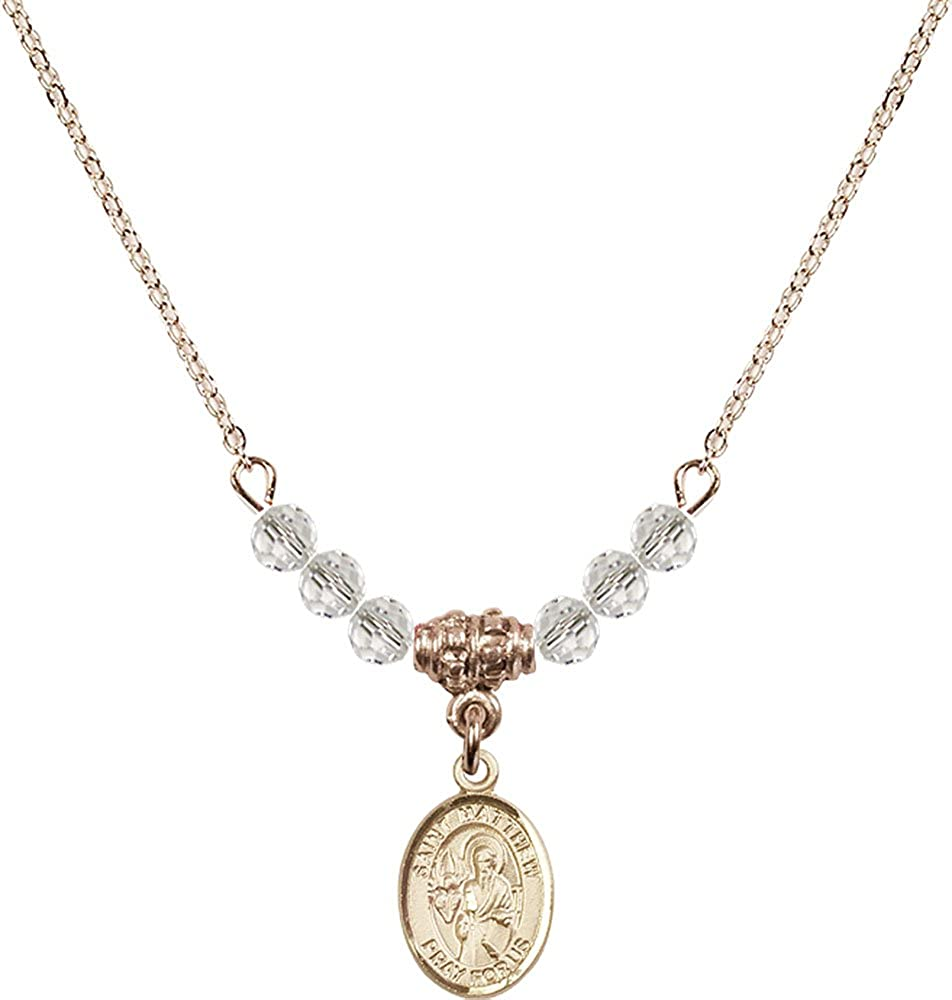 18-Inch Hamilton Gold Plated Necklace with 4mm Crystal Birthstone Beads and Gold Filled Saint Matthew the Apostle Charm.