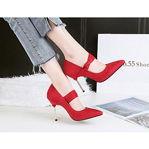 ALUK- Damenschuhe - Europa und die Vereinigten Staaten Stöckelschuhe mit Sandalen wies sexy Damen-Einzel Schuhe ( Farbe : Braun , größe : 37-Shoes long235mm ) Rot