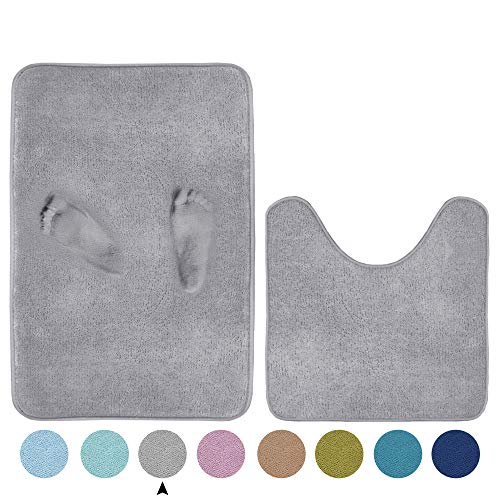 Memory Foam Toilet Rugs for Bathroom U Shaped Contour Set Extra Soft and Absorbent Bath Rugs Floor Mats for Bath/Tub/Shower (Grey, 20