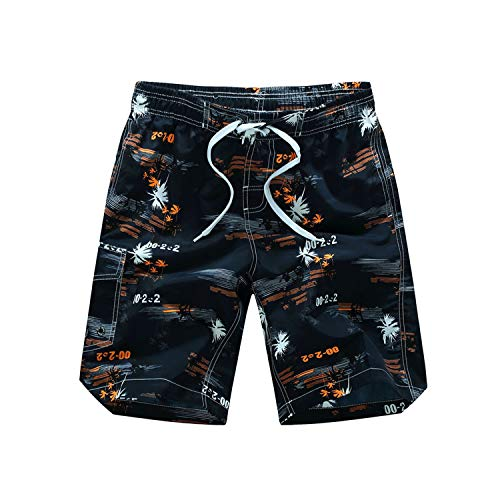 romantico Men Beach Shorts M-6XL Plus Size Swimwear Men Swim Shorts Surf Wear Board Shorts Summer Swimsuit,Black Orange,Asian XXL