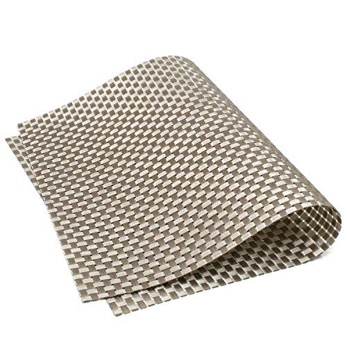 Reversible Dual-color Basketweave PVC Texteline Woven Placemats, Set of 6 (Silver) (Placemats Basketweave)