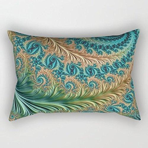 Peacock Pattern Pillowcase Satin Fabric Throw Pillow Cover 1