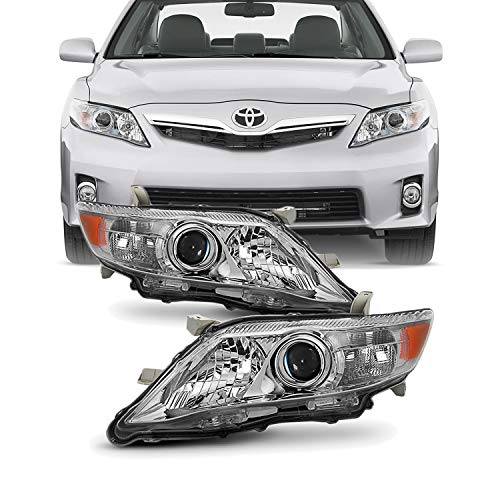 For 2010-2011 Toyota Camry LE/XLE Models Chrome Headlights Front Lamps Direct Replacement