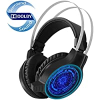 Pansonite Gaming Headset with Noise Isolation Microphone and LED Light for PS4 Xbox One PC Cellphone, Over-ear USB Surround Stereo Headphones For PC Gamers - Volume Control & Light Weight Design