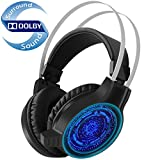 Pansonite Stereo Gaming Headset with Microphone, Noise Isolation Gaming Headphones with Bass Surround, LED Light, Soft Memory Earmuffs for PS4, PC, Xbox One Controller, Laptop Mac Nintendo Switch Game