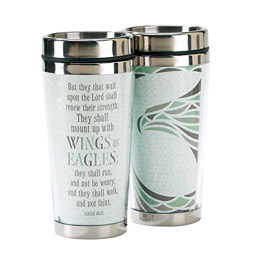 Teal Mount Up Eagles Wings Isaiah 40:31 16 Oz. Stainless Steel Insulated Travel Mug with Lid