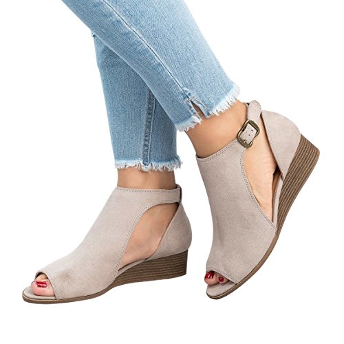 (Royou Yiuoer Womens Platform Wedge Sandals Cut Out Espadrille Mid Heel Peep Toe Suede Ankle Strap Summer Shoes by Beige US 7)