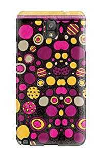 New Tpu Hard Case Premium Galaxy Note 3 Skin Case Cover(funky Pink And Yellow Dots )