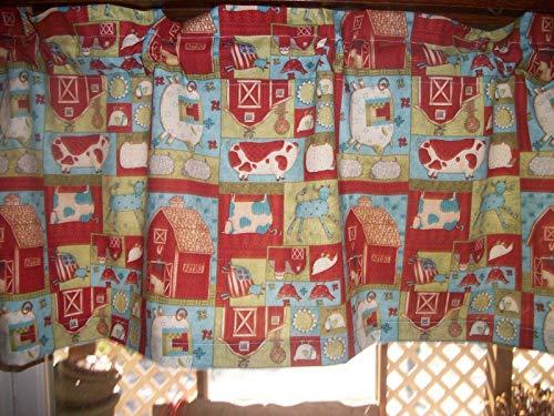 Debbie Mumm Cotton Fabric - Folka Art Farm Cows Pig Cat Debbie Mumm farmhouse cotton fabric window curtain Valance