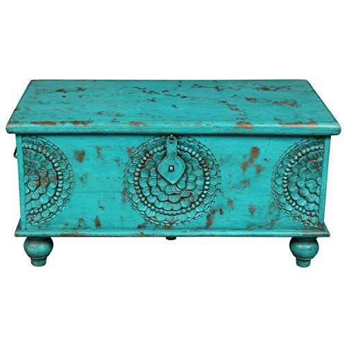 Wood Carved Trunk - Wanderloot Leela Teal Blue Hand-carved Medallion Coffee Table Trunk (India)