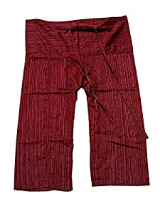 Thai Fisherman Pants Yoga Trousers Free Size Cotton Burgundy Color