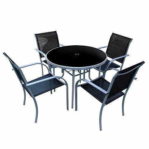 conjunto de mesa y sillas para terraza de hierro negro garden lola derek amazones hogar