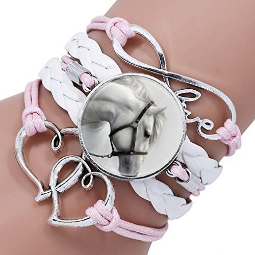 Giwotu Womens Trendy Black Rope White Horse Photo Glass Cabochon Leather Charm Bracelet for Women Handmade Heart Love Bracelets Gifts 12003403