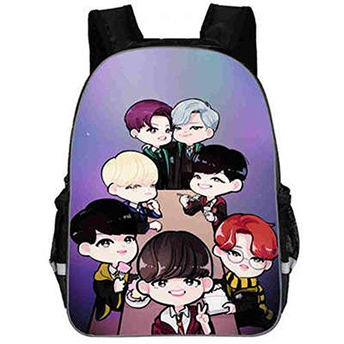 Schoolbag Kpop Bts Pu Member Q Cartoon Shoulder Image Handbag Unisex Printing Backpack ZS8Hx