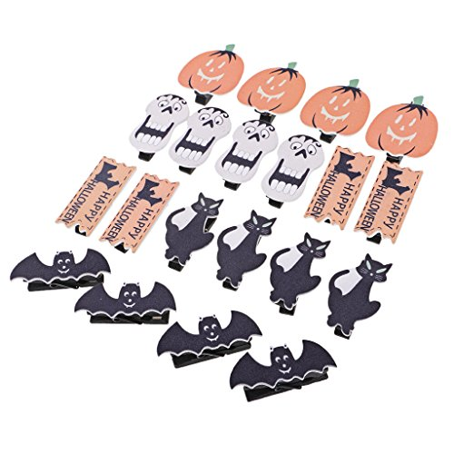 MagiDeal 20 Pieces Mini Clothespins Wood Pegs with Pumkin Ghost & More Shapes for Halloween Party Decoration, Home School Arts Crafts Decor DIY, Photo Paper Peg Pin Craft -