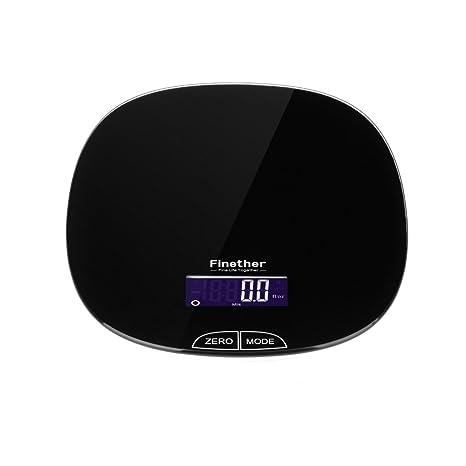 Finether-Báscula de Cocina de Precisión con Display LCD (Perfecto para Cocinar Repostería en