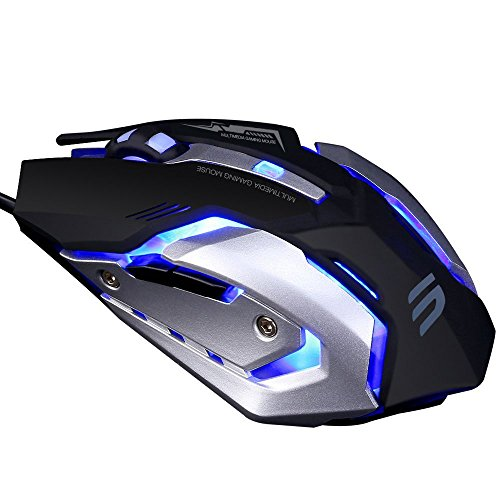 519MaYBi61L - LINGYI Gaming mouse , 6 Programmable Buttons , 4 Adjustable DPI Levels , 4 Circular & Breathing LED Light , Used for games and office[ Black ]