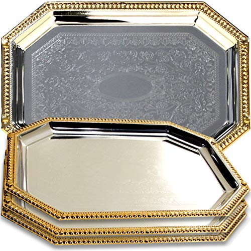 Maro Megastore (Pack of 4) 13.8-Inch x 9.8-Inch Octagonal Chrome Plate Serving Tray Gold Edge Floral Engraved Decorative Wedding Birthday Dessert Snack Wine Candle Platter Plate 155 S Ts-247 - Octagonal Mirror Tray