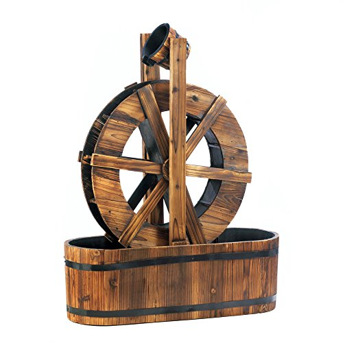Spinning Wood Outdoor Water Mill Fountain (Water Fountain Wheel)