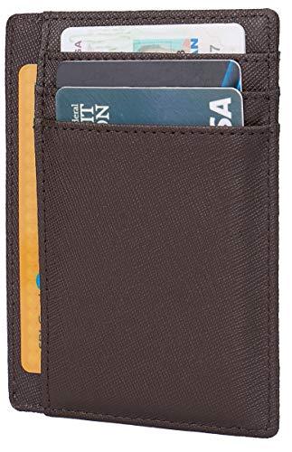 Leather RFID Blocking Minimalist Credit Card Holder Slim Pocket Wallets for Men Women