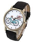 Top Plaza Men's Womens Casual Retro Bronze Tone Cowboy PU Leather Strap Bicycle Pattern Analog Quartz Wrist Watch