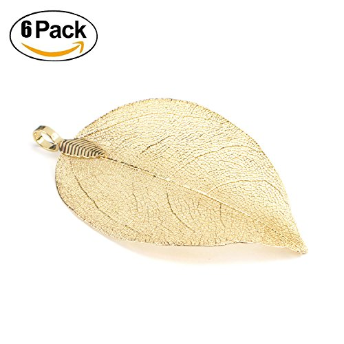 Wholesale 6PCS Gold Plated Natural Real Filigree Leaf Pendants Bulk Charms for Jewelry Making (Large)