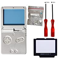 eJiasu Full Housing Shell Case Cover Pack Replacement Repair Parts for Gameboy Advance SP GBA SP (GBA SP Shell Set Silver)