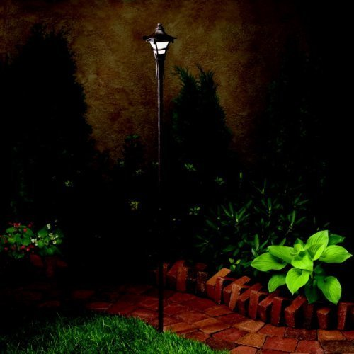 KICHLER 15421AGZ Cotswold 1LT Incandescent/LED Hybrid Low Voltage Landscape Path and Spread Light, Aged Bronze with Weathered White Glass by