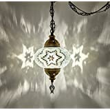 DEMMEX Turkish Moroccan Mosaic Hardwired Or Swag Plug in Chandelier Light Ceiling Hanging Lamp Pendant Fixture (1 X 6.5 Globe - Hard-Wired)