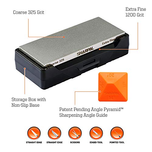 SHARPAL 156N Diamond Whetstone Knife Sharpener with Storage Base | 2 Side Grit Coarse 325 / Extra Fine 1200 | Diamond Sharpening Stone | NonSlip Base & Angle Guide (6 in. x 2.5 in.) by SHARPAL (Image #1)