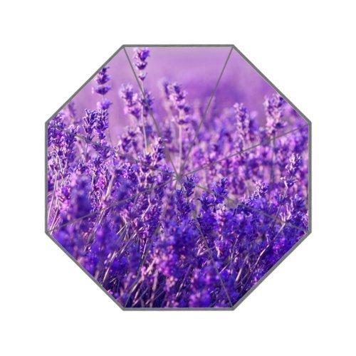 Bouquet of Purple Lavender Flowers Windproof Umbrella Travel Umbrella 8 ribs Manual Open & Close Compact Rain (Manual Open Compact Umbrella)