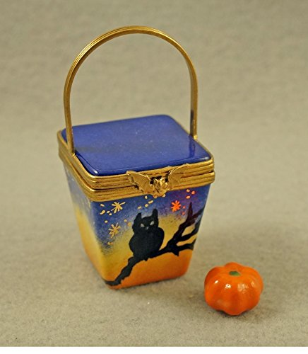 Authentic French Porcelain Hand Painted Limoges Box Halloween Basket with Removable Porcelain Pumpkin ()