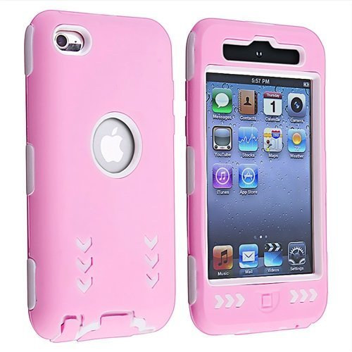 Skin White Arrow - White Hard/ Pink Skin Arrow Hybrid Case Cover compatible with Apple iPod Touch 4G, 4th Generation, 4th Gen 8GB / 32GB / 64GB
