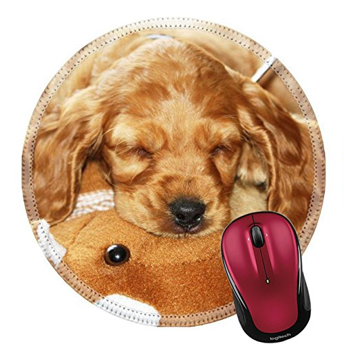 Liili Round Mouse Pad Natural Rubber Mousepad Spaniel Puppy sleeping together with his toy Photo 255854 -