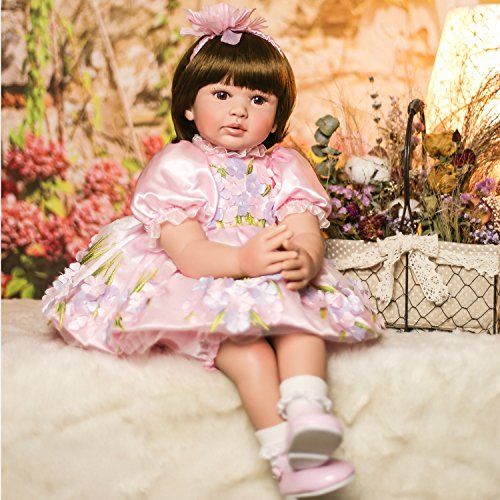 PURSUEBABY Beautiful Real Looking Reborn Toddler Girl Doll Princess Savita, 24 inch Realistic Weighted Baby Doll Infant