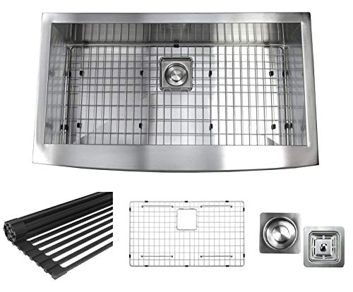 (36 Inch Zero Radius Design 16 Gauge Single Bowl Stainless Steel Curve Farmhouse Apron Kitchen Sink (Square Drain) Premium Package)