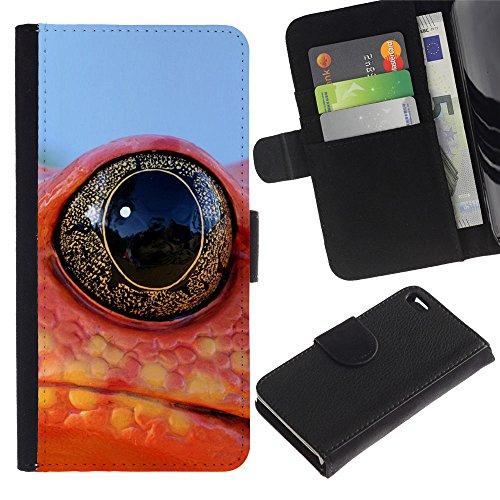 EuroCase - Apple Iphone 4 / 4S - Cool Frog Lizard Neon eye - Cuir PU Coverture Shell Armure Coque Coq Cas Etui Housse Case Cover