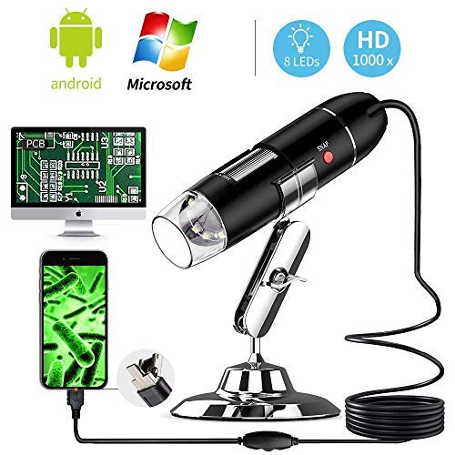 YKSINX USB Digital Microscope, 40 to 1000 x High Resolution Camera, Built-in 8pc led lights USB Microscope MAC, HD USB Magnification Endoscope with OTG Adapter and Metal Stand by YKSINX