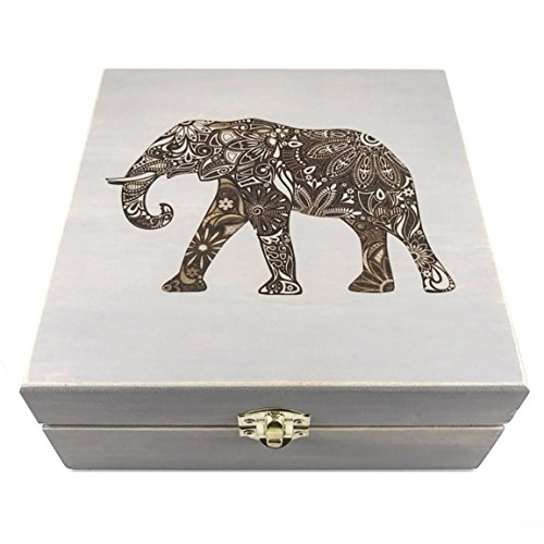 Elephant Mandala - PREMIUM Essential Oil Box 25 Slots H.E. Signature Gift Series - Holds 5-15ml Bottles - Wooden Aromatherapy Storage - Fits doTERRA, Young Living, All Major Brands (Gray) - Exclusive Wooden Elephant