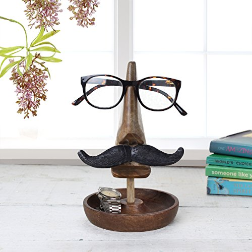 Handcrafted Wooden Organizer Nose and Mustache Design Spectacle Stand Trinket Tray Catch All Dish With Free - Face Best Heart Shape Eyeglass Shaped For