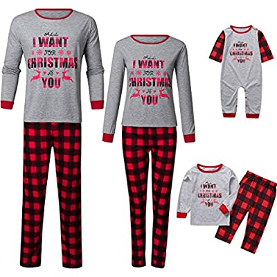Christmas Family Matching Pajamas Set Mommy Daddy Kids Blouse Lattice Pants Baby Xmas Romper Parent-Child Match Outfit: Clothing