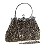 Jezozo Women's Vintage Style Beaded And Sequined Evening Bag Wedding Party Handbag Clutch Purse (Army Green)